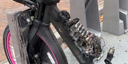 fig 4 crashed battery in a bike