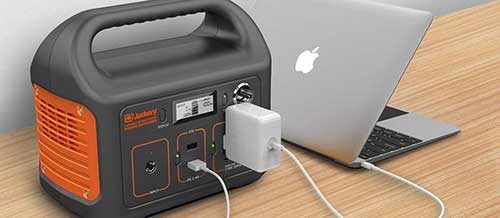 Portable Power Supply for Camping Charging a Laptop