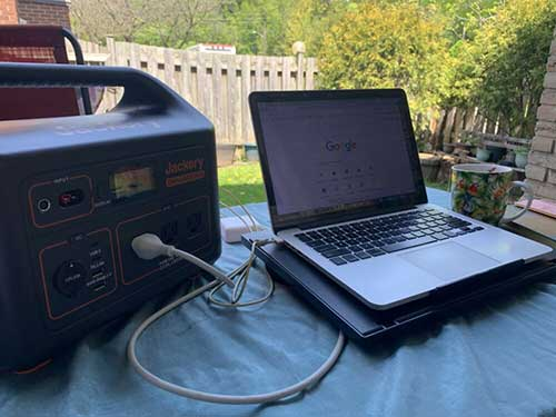 Portable Power Station powering a Laptop