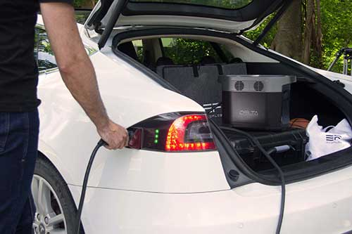 A Portable Power Supply For Camping getting charged by a Car
